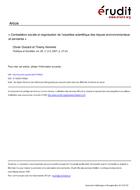 Contestation sociale et organisation de l'expertise scientifique des risques environnementaux et sanitaires