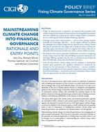 Mainstreaming Climate Change into Financial Governance: Rationale and Entry Points